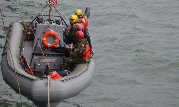 Georgian and U.S. Sailors during the Search and Rescue Training in Sea. Photo: State Dept