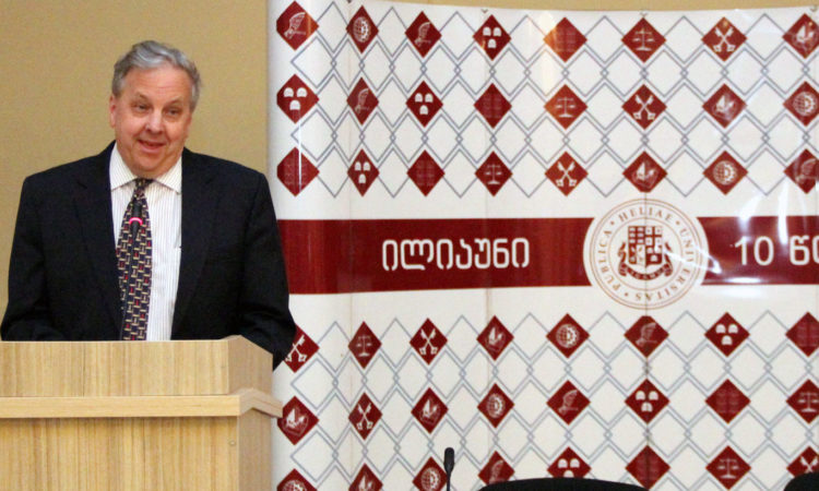 Ambassador Ian Kelly during his remarks. Photo: State Dept